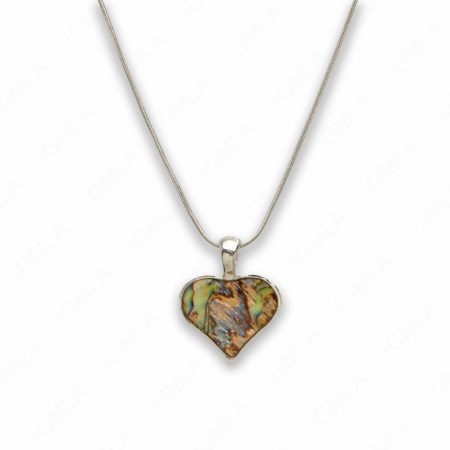 Zinc Alloy Natural Pau Shell Silver Plated Heart Necklace