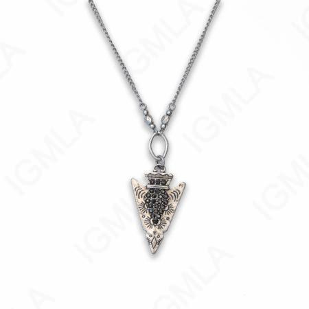 Zinc Alloy Rhinestone Silver Plated Arrowhead Necklace