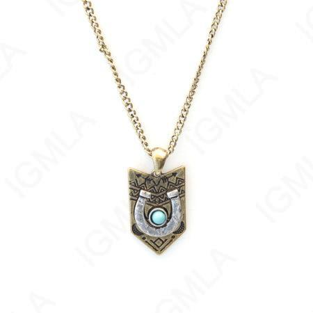 Zinc Alloy Syn Turquoise Cab Gold plated Arrowhead w/ silver Plated Horse Shoe Necklace