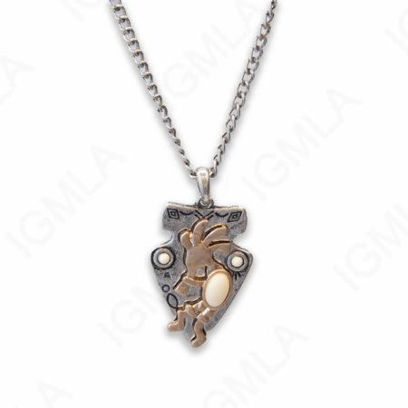 Zinc Alloy Syn White Cab Gold, Silver Plated Arrowhead Necklace