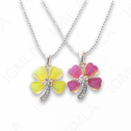 Zinc Alloy Yellow Purple Silver Plated Flower Necklace