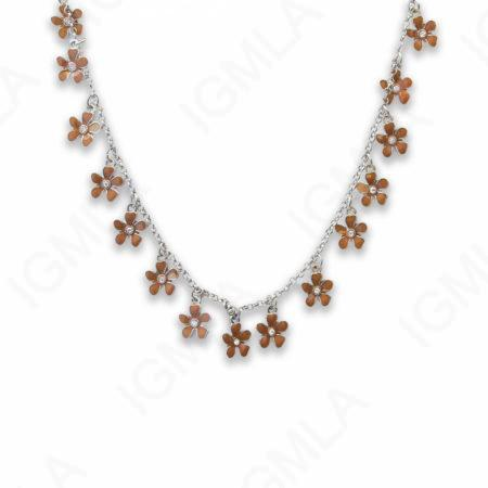 Zinc Alloy White Color Rhodium Plated Flower Necklace