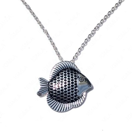 Zinc Alloy Silver Plated Fish Necklace