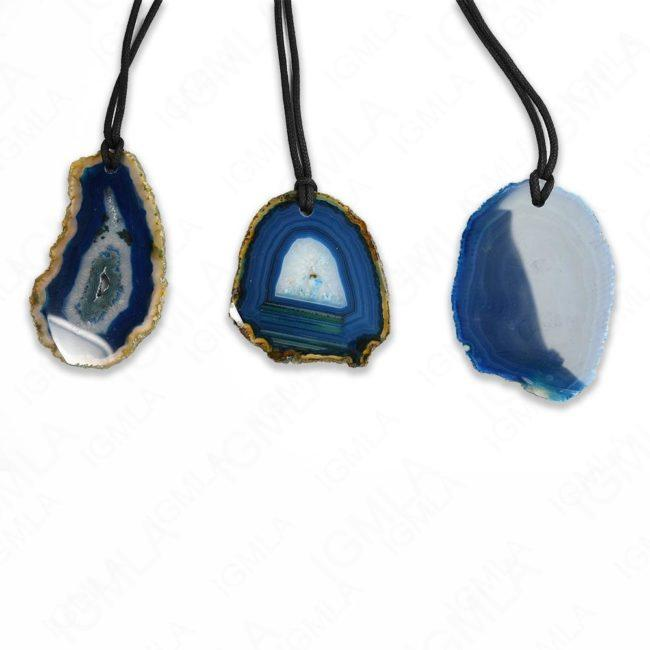 #1 Blue Agate Leather String Necklace