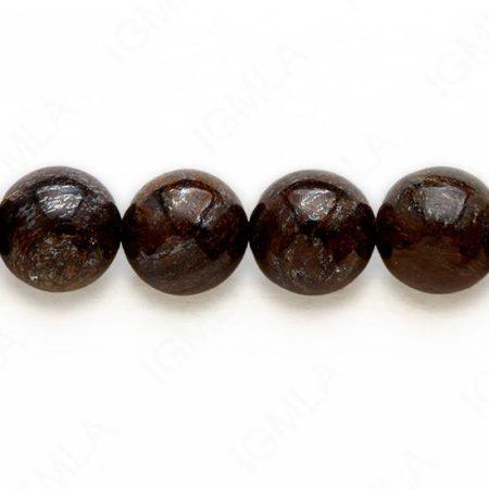 16″ 10 M.M. Bronzite Round Beads