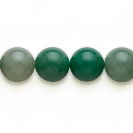 16′ 14 M.M. Green Aventurine Round Beads