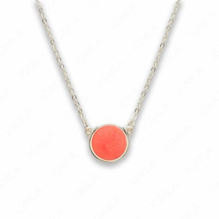 Zinc Alloy Pink Druzy Silver Plated Round Necklace