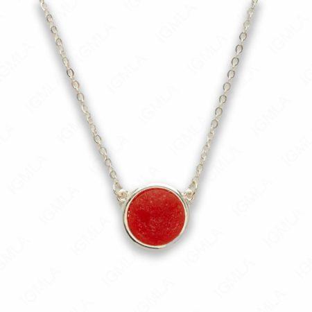 Zinc Alloy Orange Druzy Silver Plated Round Necklace