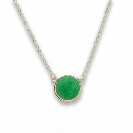 Zinc Alloy Green Druzy Silver Plated Round Necklace