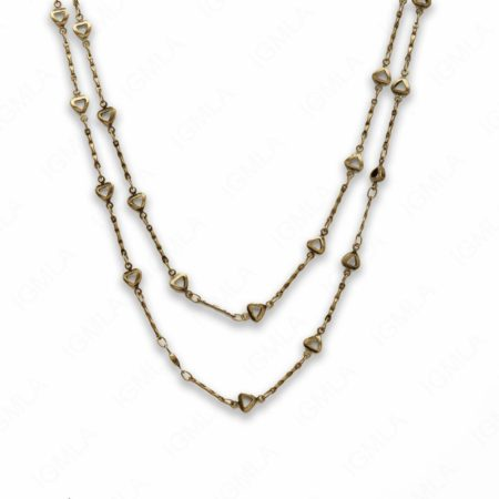 Zinc Alloy Antique Gold Plated Heart Necklace