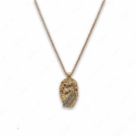Zinc Alloy Strength Gold Plated Oval Necklace