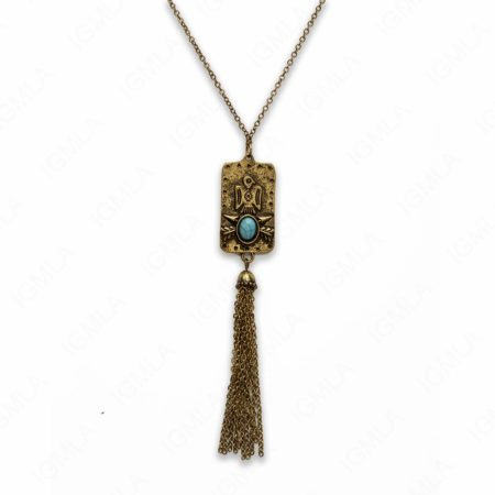 Zinc Alloy Syn Turquoise Oval Cab Antique Gold Rectangle Necklace