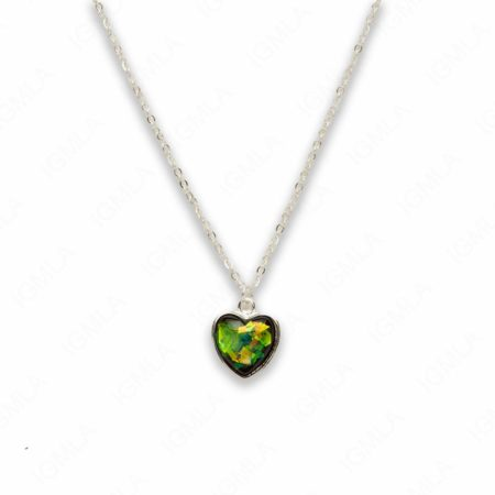 Zinc Alloy Small Green Silver Plated Heart Necklace