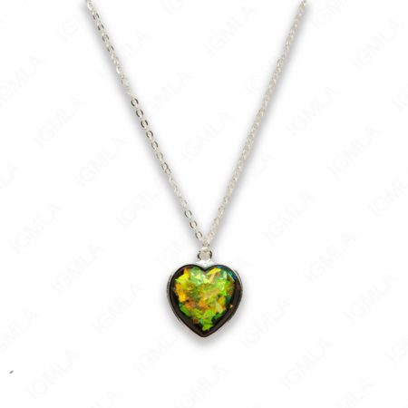 Zinc Alloy Medium Green Silver Plated Heart Necklace