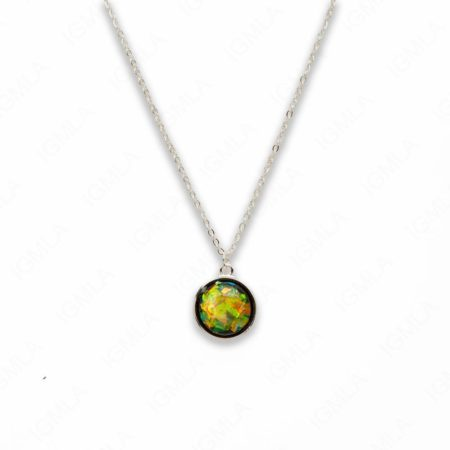 Zinc Alloy Small Green Silver Plated Round Necklace