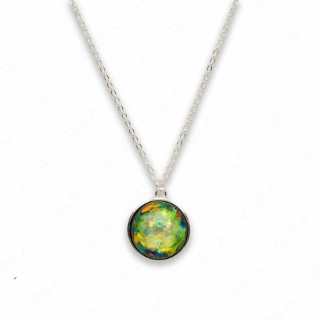 Zinc Alloy Medium Green Silver Plated Round Necklace