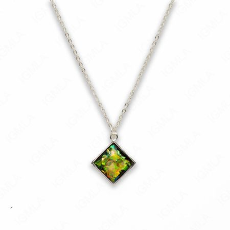 Zinc Alloy Small Green Silver Plated Rectangle Necklace