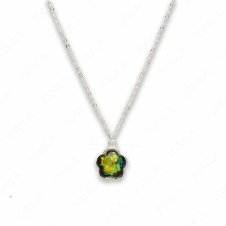 Zinc Alloy Small Green Silver Plated Flower Necklace