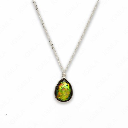 Zinc Alloy Small Green Silver Plated Drop Necklace
