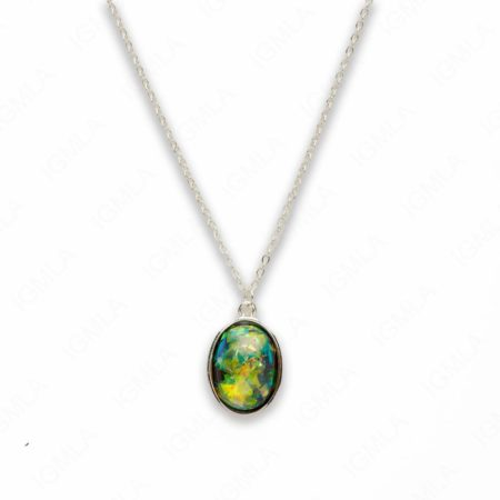 Zinc Alloy Small Green Silver Plated Oval Necklace