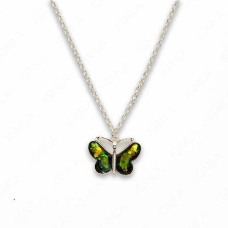 Zinc Alloy Small Green Silver Plated Butterfly Necklace