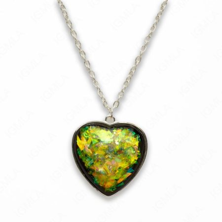 Zinc Alloy Large Green Silver Plated Heart Necklace