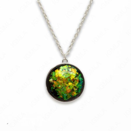 Zinc Alloy Large Green Silver Plated Round Necklace