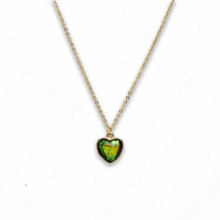 Zinc Alloy Small Green Gold Plated Heart Necklace
