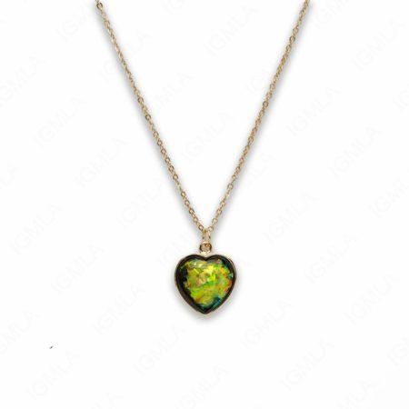 Zinc Alloy Medium Green Gold Plated Heart Necklace
