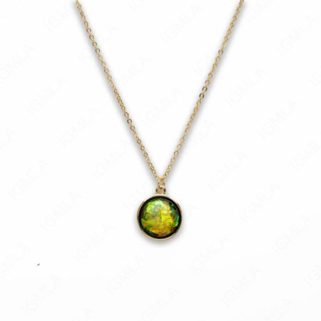 Zinc Alloy Small Green Gold Plated Round Necklace