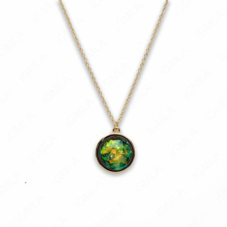 Zinc Alloy Medium Green Gold Plated Round Necklace
