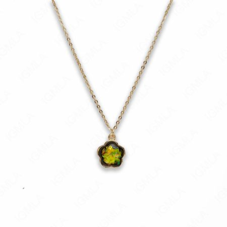 Zinc Alloy Small Green Gold Plated Flower Necklace