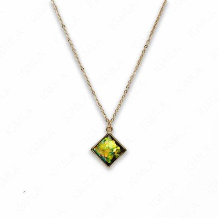Zinc Alloy Small Green Gold Plated Square Necklace