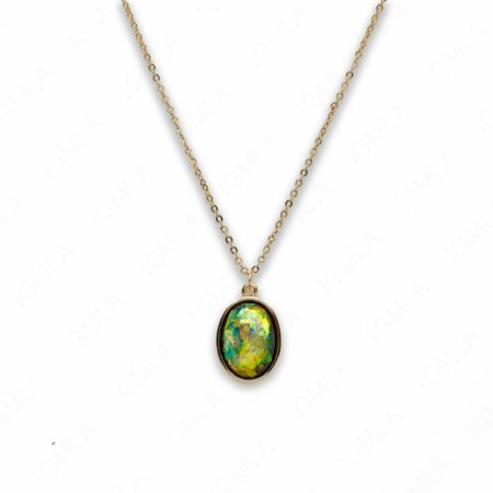 Zinc Alloy Small Green Gold Plated Oval Necklace