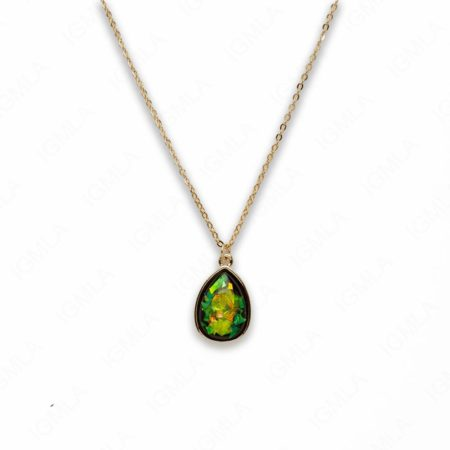 Zinc Alloy Small Green Gold Plated Drop Necklace
