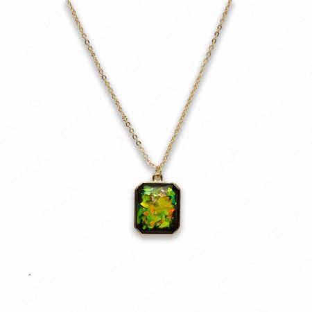 Zinc Alloy Small Green Gold Plated Rectangle Necklace