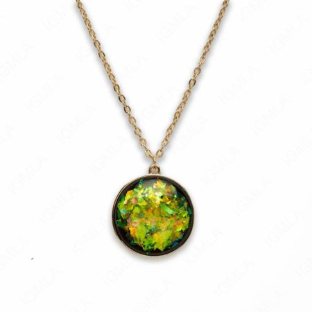 Zinc Alloy Large Green Gold Plated Round Necklace
