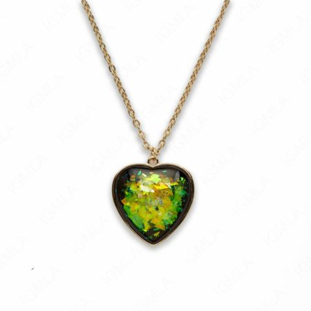 Zinc Alloy Large Green Gold Plated Heart Necklace