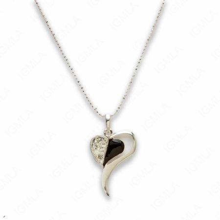 Zinc Alloy Black Silver Plating Heart Necklace
