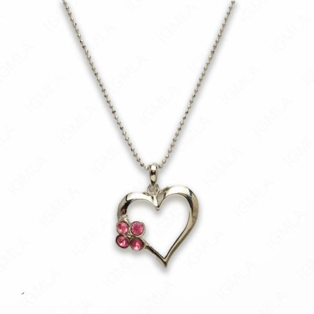 Zinc Alloy Pink Rhinestone Silver Plated Heart Necklace