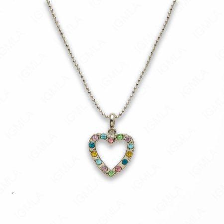 Zinc Alloy Multi Rhinestone Silver Plated Heart Necklace