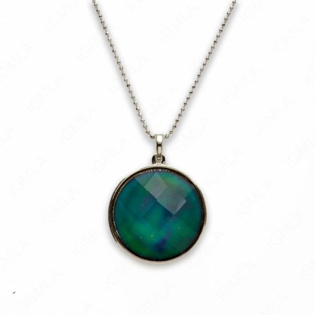 Zinc Alloy Mood Faceted Silver Plated Round Necklace