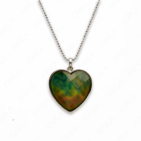 Zinc Alloy Mood Faceted Silver Plated Heart Necklace