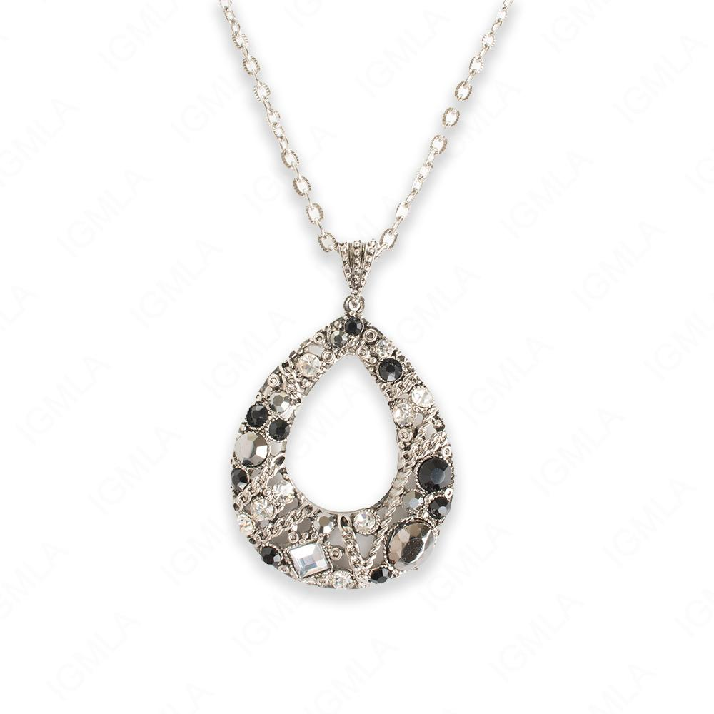 Zinc Alloy Assorted Rhinestone Silver plated Drop Necklace
