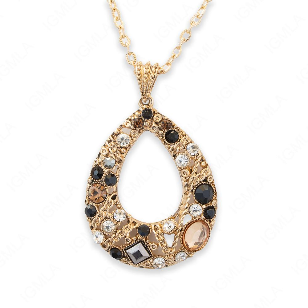 Zinc Alloy Assorted Rhinestone Gold plated Drop Necklace