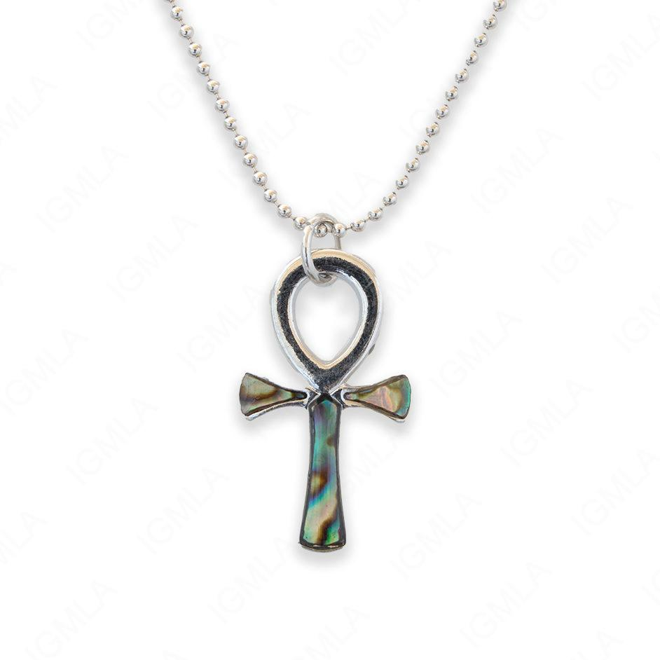 Zinc Alloy Abalone Silver Plating Cross Necklace