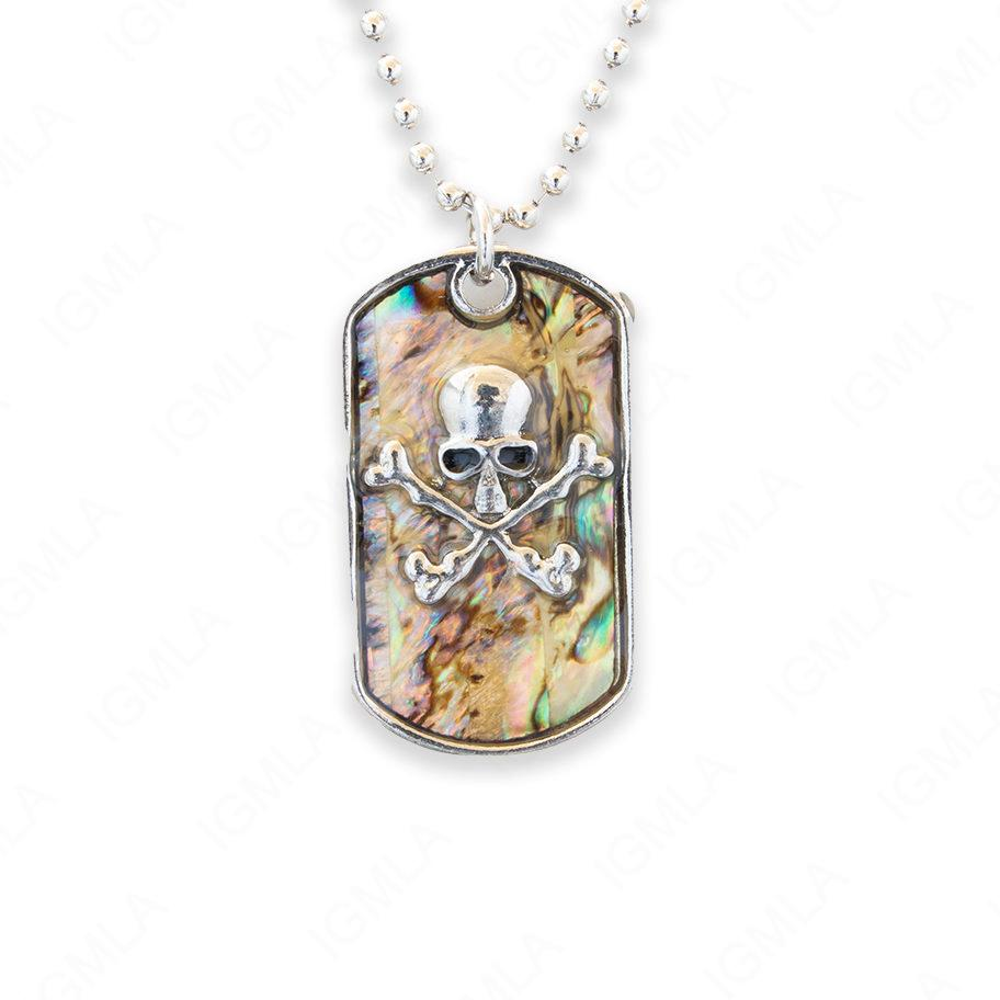 Zinc Alloy Abalone Silver Plating Jolly Roger Necklace