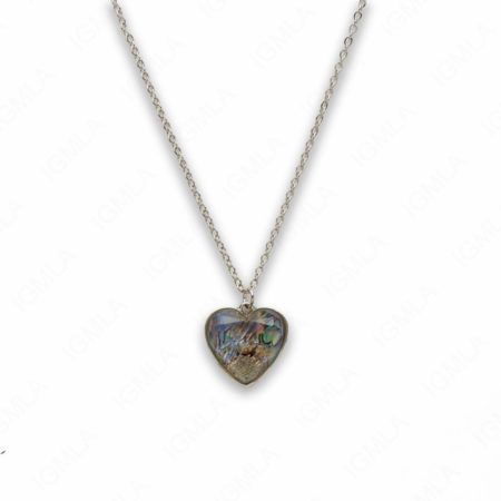 Zinc Alloy Faceted Abalone Silver Plating Heart Necklace