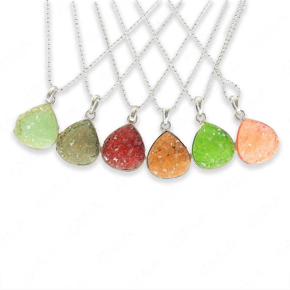 Zinc Alloy Assorted colors Druzy w Silver Plated Drop Necklace
