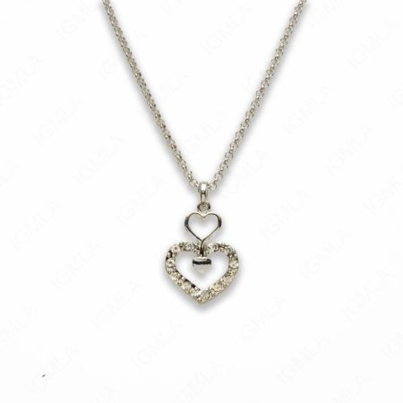 Zinc Alloy Clear Rhinestone Silver Plated Heart Necklace